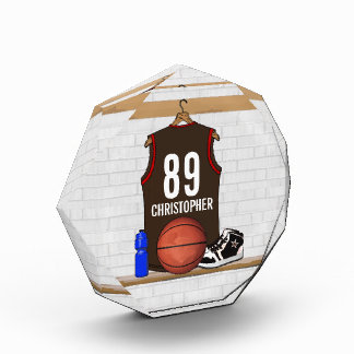 Personalized Brown and Red Basketball Jersey Award