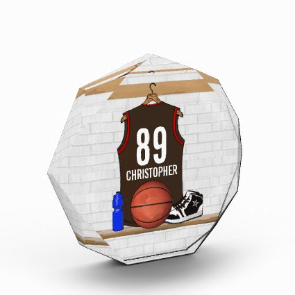 Personalized Brown and Red Basketball Jersey Acrylic Award