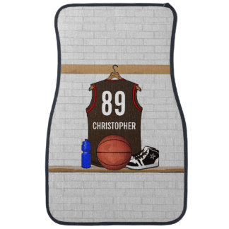 Personalized Brown and Red Basketball Jersey Car Floor Mat