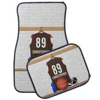 Personalized Brown and Red Basketball Jersey Car Mat