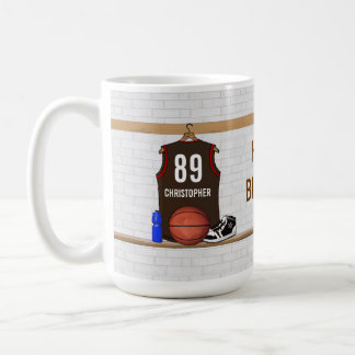 Personalized Brown and Red Basketball Jersey Coffee Mug
