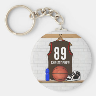 Personalized Brown and Red Basketball Jersey Keychain