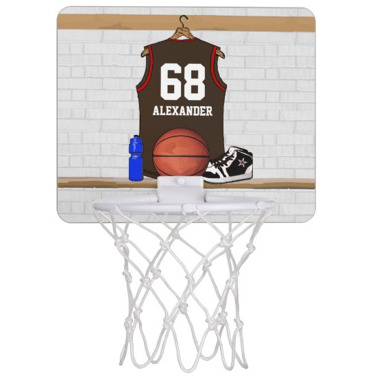 Personalized Brown and Red Basketball Jersey Mini Basketball Backboard