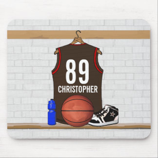 Personalized Brown and Red Basketball Jersey Mouse Pad
