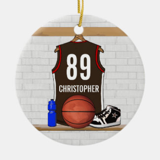 Personalized Brown and Red Basketball Jersey Christmas Ornaments