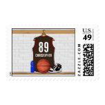 Personalized Brown and Red Basketball Jersey Postage Stamps