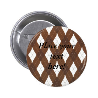 Personalized Brown and White Plaid Argyle  Buttons