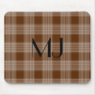 Personalized Brown and White Plaid Tartan Pattern Mouse Pad