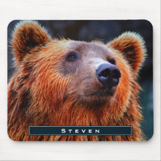Personalized Brown Bear Portrait Wildlife Photo Mouse Pad