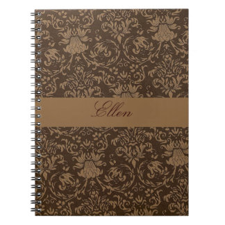 personalized brown damask notebook