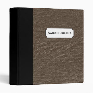 Personalized Brown Faux Leather Binder