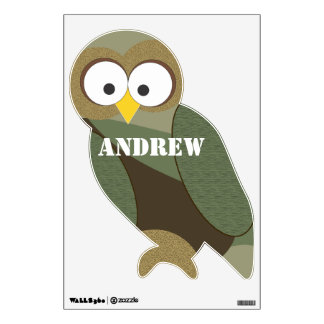 Personalized Brown Green Tan Camo Owl Wall Decal