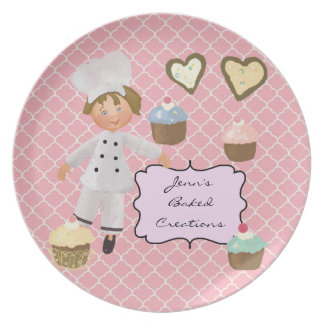 Personalized Brown Hair  Baker Chef Plate