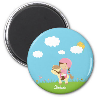 Personalized brown hair horse rider girl floral 2 inch round magnet