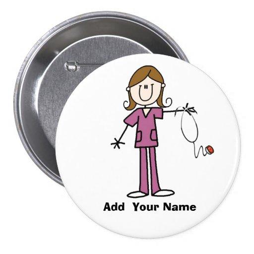 Personalized Brown Hair Stick Figure Nurse  Button