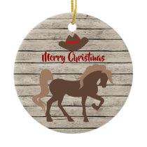 Personalized Brown Horse and Cowboy Hat Christmas Ceramic Ornament