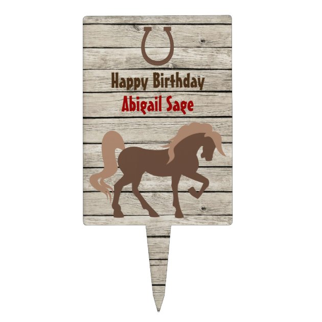 Personalized Brown Horse And Horseshoe Birthday Cake Topper Zazzle Com