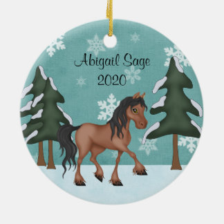 Personalized Brown Horse Snowy Holiday Christmas Ceramic Ornament