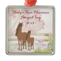 Personalized Brown Horses Baby's 1st Christmas Metal Ornament