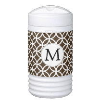 Personalized Brown Monogram  Double Rings pattern Cooler