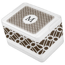 Personalized Brown Monogram  Double Rings pattern Drink Cooler