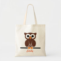 Personalized Brown Owl kids Tote Bag