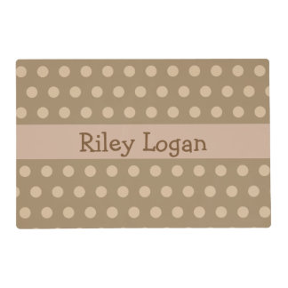 Personalized Brown Polka Dot Placemat