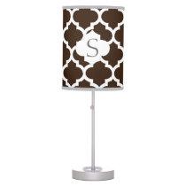 personalized brown quatrefoil custom monogram table lamp
