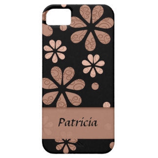 Personalized Brown Retro Flowers On Black iPhone 5 Case