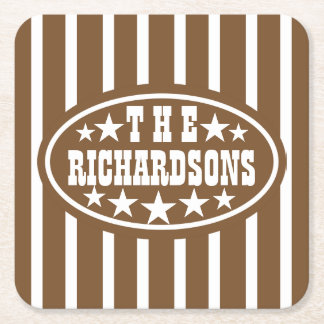 Personalized Brown Vintage Carnival Square Paper Coaster