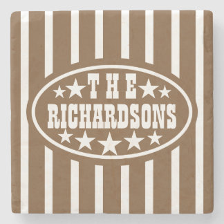 Personalized Brown Vintage Carnival Stone Coaster