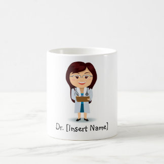 Personalized Brunette Doctor Female Coffee Mug