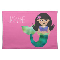 Personalized Brunette Faux Foil Mermaid Pink Girls Placemat