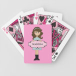 Personalized Brunette Girly Playing Cards