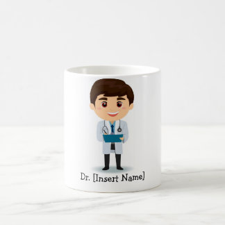 Personalized Brunette Male Doctor Classic White Coffee Mug