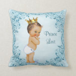 "Personalized Brunette Prince Blue Leaves Throw Pillow<br><div class=""desc"">Elegant personalized brunette baby boy vintage prince blue throw pillow with a beautiful vintage illustration of a cute and adorable baby boy with stylish gold crown, white diaper and cute bunny rabbit slippers on a chic blue background with a classy, ornate leaves, swirls and flourishes border. Beautiful, whimsical, trendy, glamorous,...</div>"