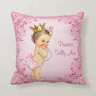 Personalized Brunette Princess Glamorous Pink Throw Pillow