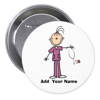 Personalized Brunette Stick Figure Nurse Button