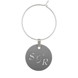 Personalized Brushed Look Silver Wine Tag Wine Gla Wine Charm