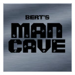 Personalized Brushed Steel Man Cave Poster