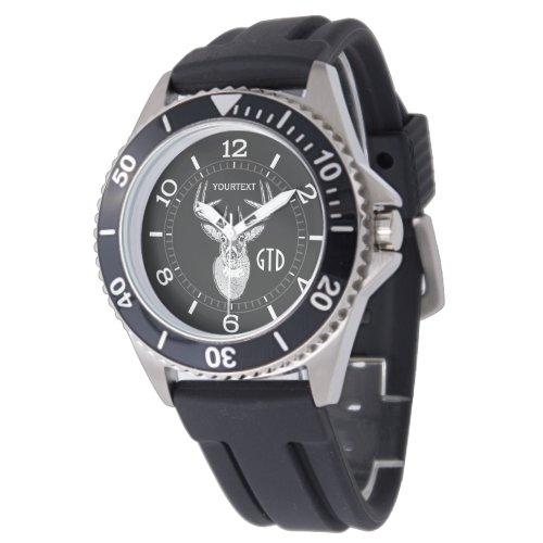 Personalized Buck trophy on Black White Tail Deer Wrist Watch