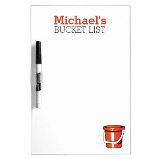 Personalized bucket goal list dry erase board