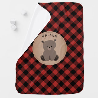Personalized Buffalo Plaid Bear Cub Baby Blanket