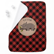 Personalized Buffalo Plaid Bear Cub Baby Blanket 2