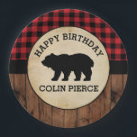 "Personalized Buffalo Plaid Bear Lumberjack Party Paper Plate<br><div class=""desc"">Personalized Buffalo Plaid Bear Lumberjack</div>"