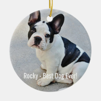 Personalized Bulldog Photo and Bulldog Name Ceramic Ornament