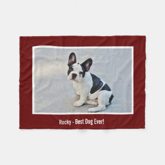 Personalized Bulldog Photo and Bulldog Name Fleece Blanket