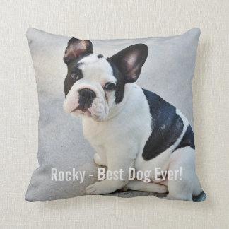 Personalized Bulldog Photo and Bulldog Name Throw Pillow