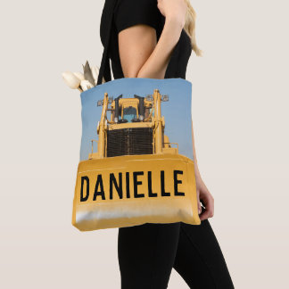 Personalized Bulldozer Tote Bag
