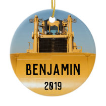Personalized Bulldozer Tractor Ceramic Ornament